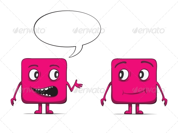Funny Cube Dudes Talking. Square Characters - Miscellaneous Characters