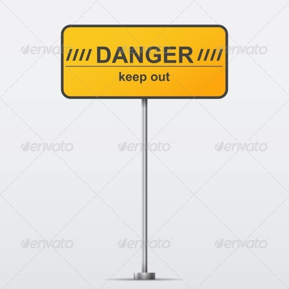 Danger Road Sign - Man-made Objects Objects
