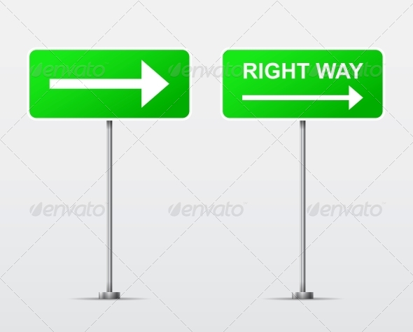 Right Way Street Road Sign - Man-made Objects Objects