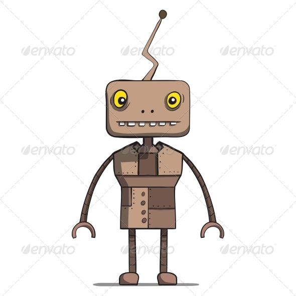 Funny Cartoon Robot - Vector Illustration - Miscellaneous Characters