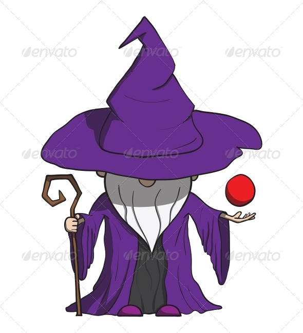 Simple Cartoon Wizard with Staff - Isolated on White - People Characters