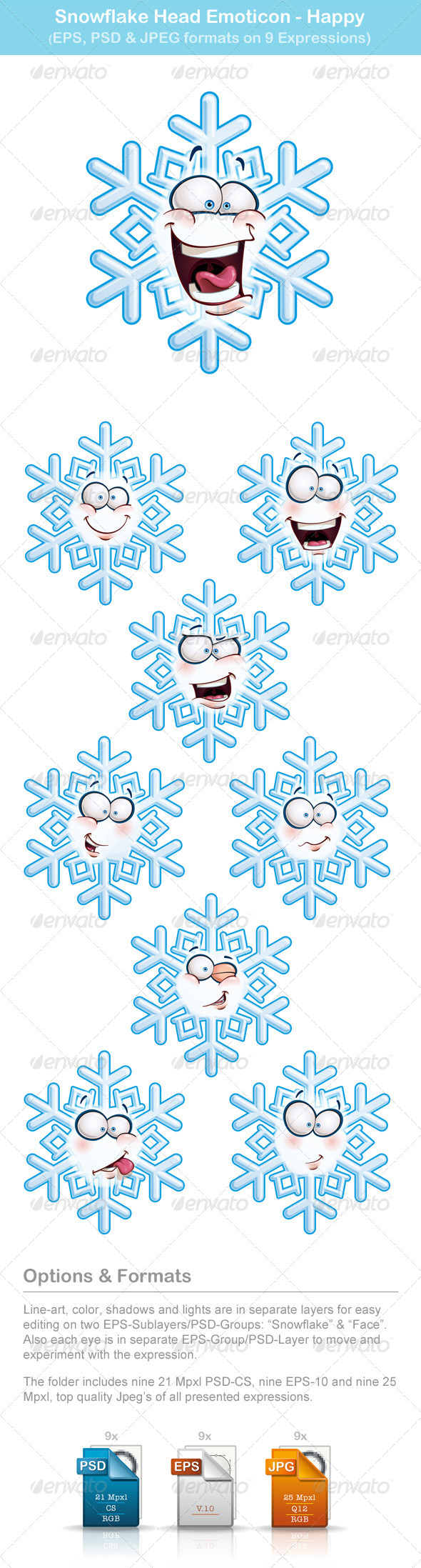 Snowflake Heads Emoticons - Happy - People Characters