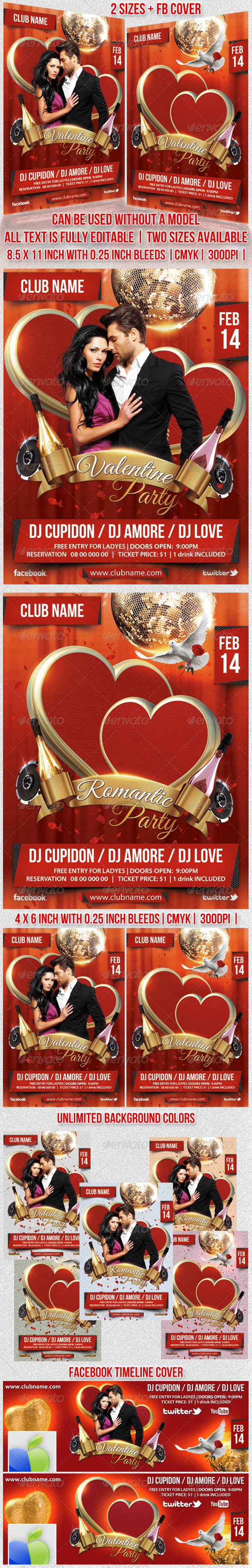 Valentine/Romantic Party Flyer - Events Flyers