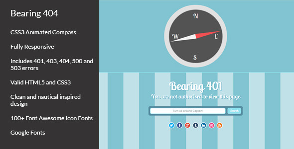 Bearing 404 - Responsive Error Pages