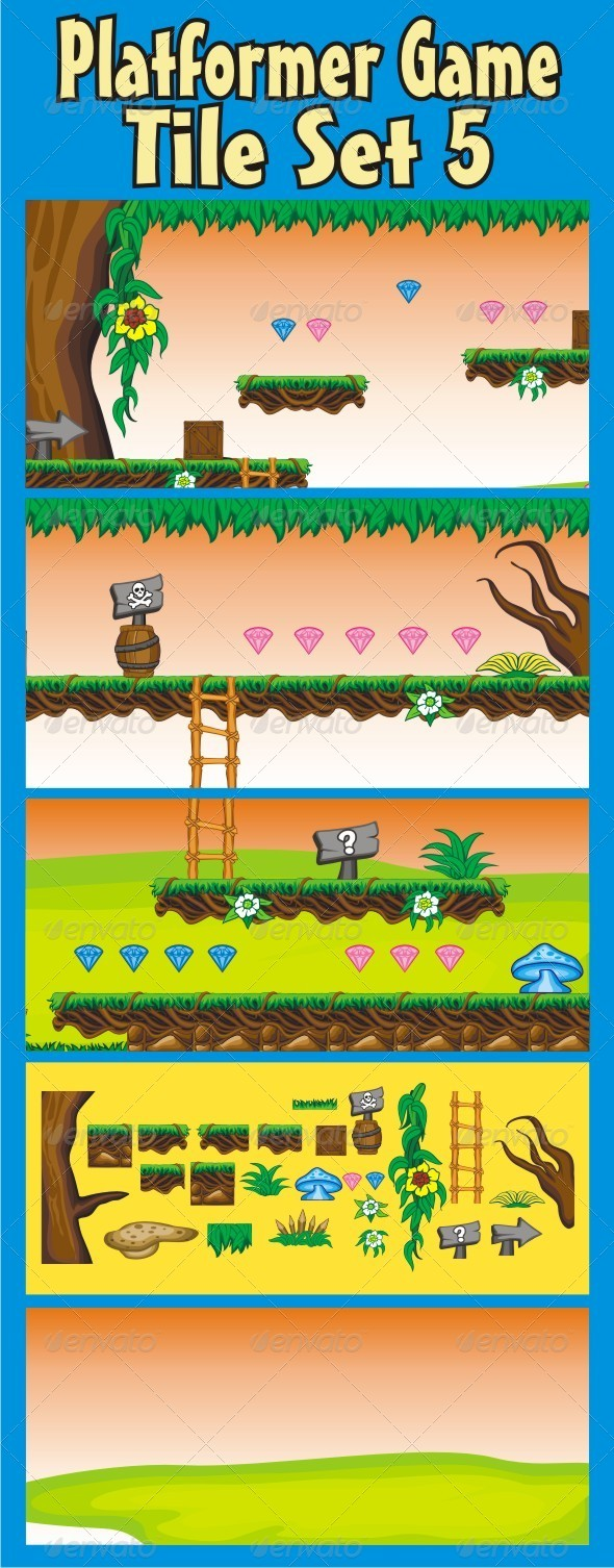 Platformer Game Tile Set 5 - Tilesets Game Assets