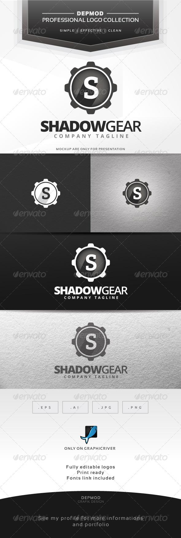 Shadow Gear Logo - Letters Logo Templates