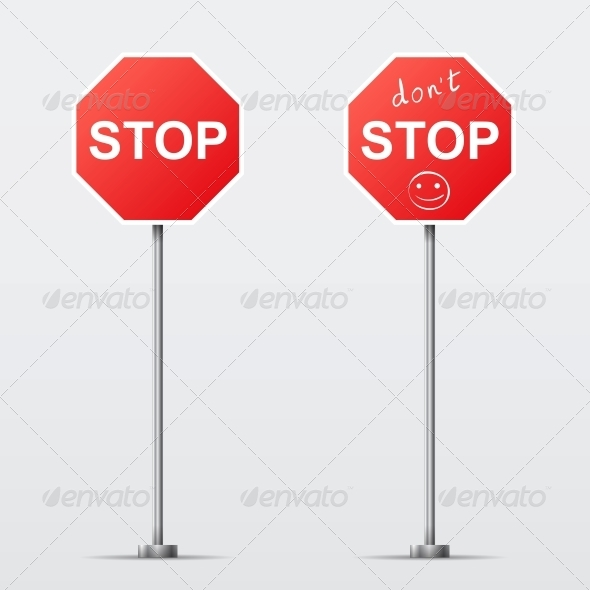 Stop and Don't Stop Road Sign - Man-made Objects Objects