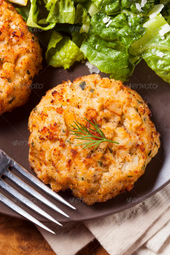 Organic Homemade Crab Cakes - Stock Photo - Images