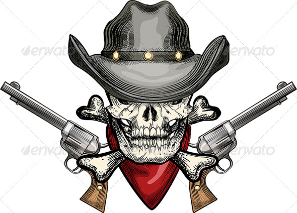 Skull in Cowboy Hat - Tattoos Vectors