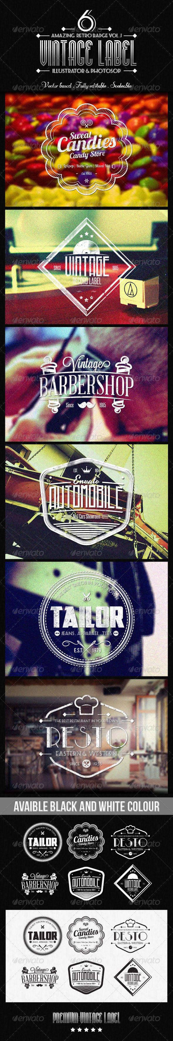 Vintage Label vol.2 - Badges & Stickers Web Elements