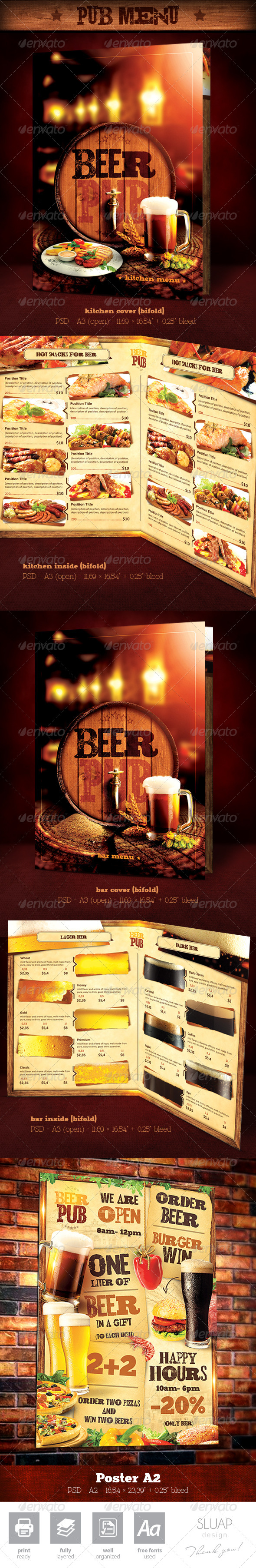 "Template Menu Design and Poster ""Beer Pub"" - Food Menus Print Templates"