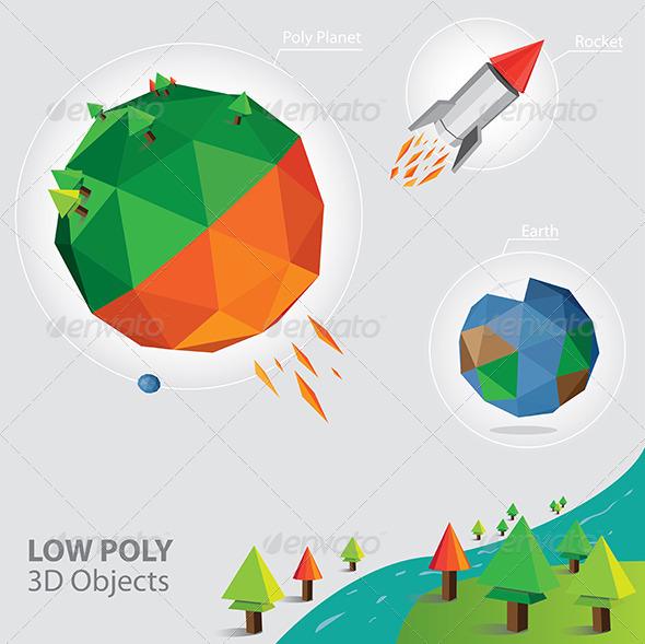 Vector Low Poly 3D Object - Conceptual Vectors