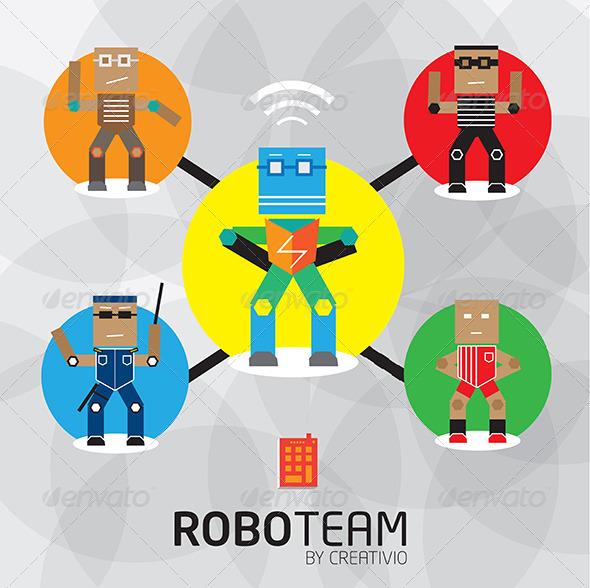Vector Robot Character Set - Characters Vectors