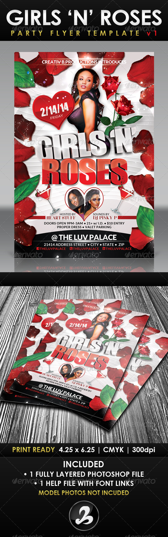 Girls 'N' Roses Valentine's Day Flyer Template 1 - Holidays Events