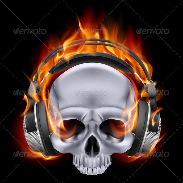 Flaming Skull in Headphones - Tattoos Vectors