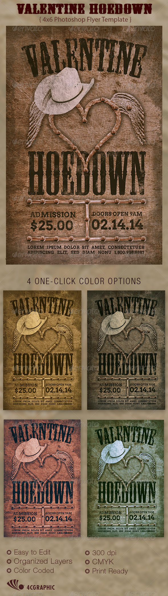 Valentine Hoedown Country Flyer Template  - Events Flyers