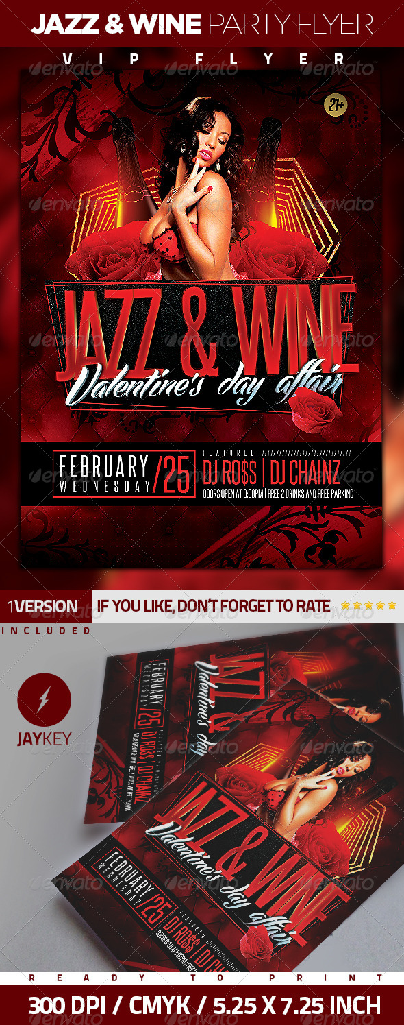 Jazz and Wine Party Flyer - Events Flyers