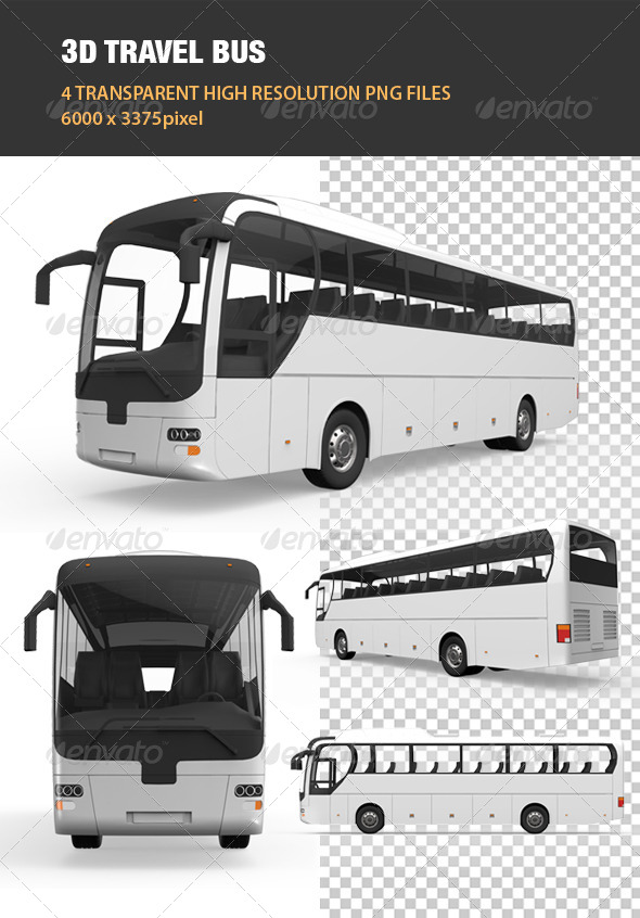 3D Travel Bus - Objects 3D Renders