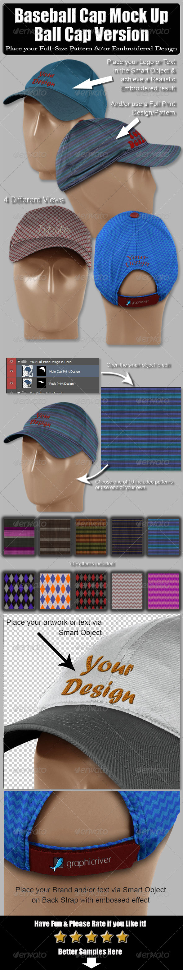 Baseball Cap Mock Up-Ball Cap Version - Miscellaneous Apparel