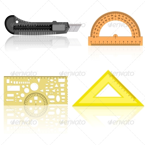 Stationery Knife Ruler and Protractor - Man-made Objects Objects