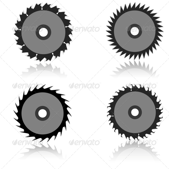 Circular Saw Blade Set - Web Elements Vectors