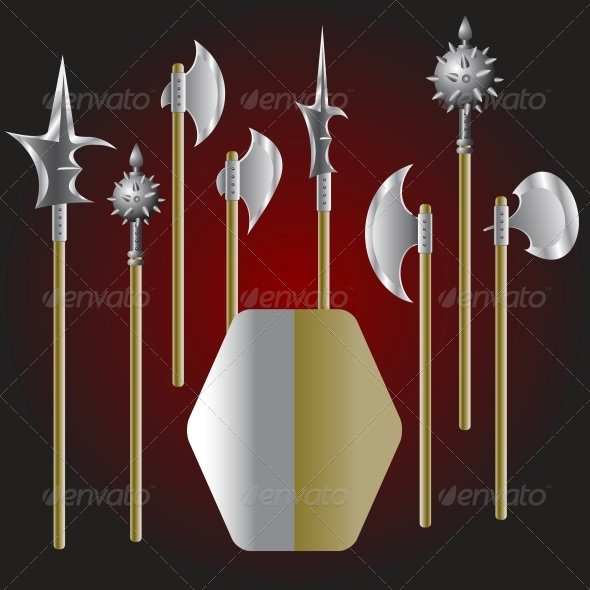 Medieval Weapons and Shield - Web Elements Vectors