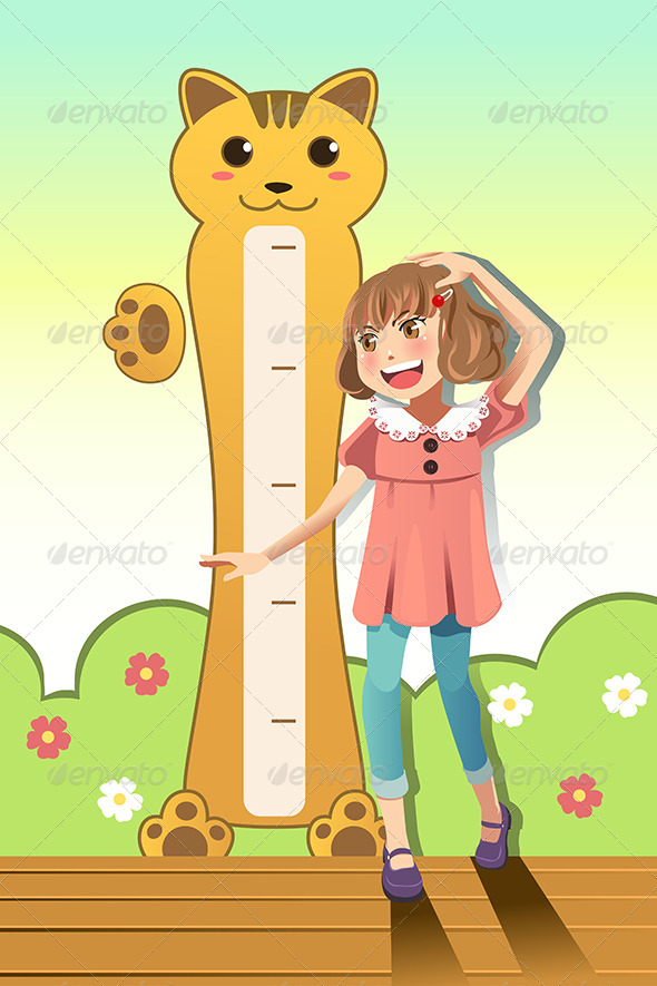 Girl Measuring her Height - People Characters