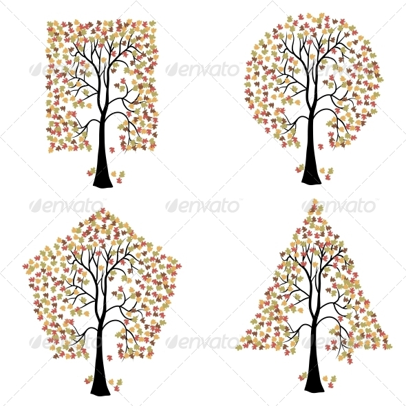 Trees of Different Geometric Shapes - Organic Objects Objects
