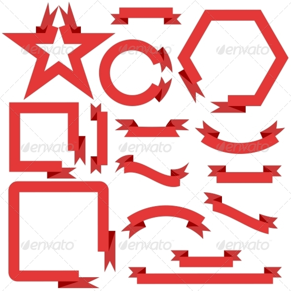 Red Ribbons and Banners - Web Elements Vectors