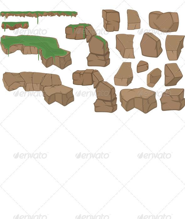 Stones Set Cartoon  - Objects Vectors