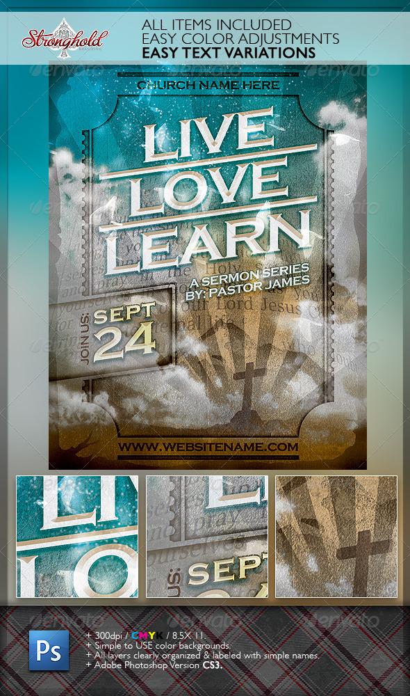 Live Love Learn Church Flyer Template - Church Flyers