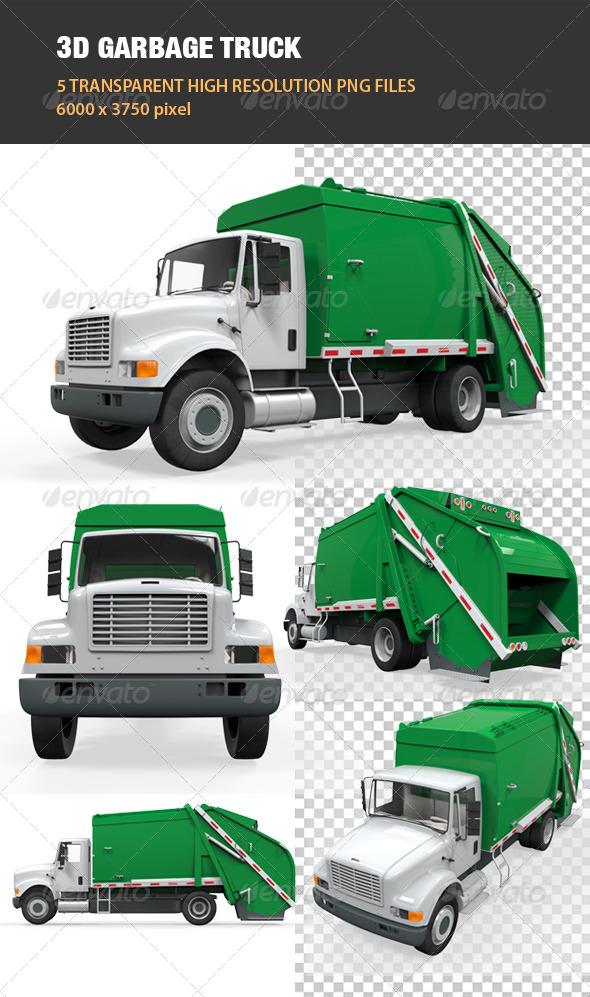 3D Garbage Truck - Objects 3D Renders