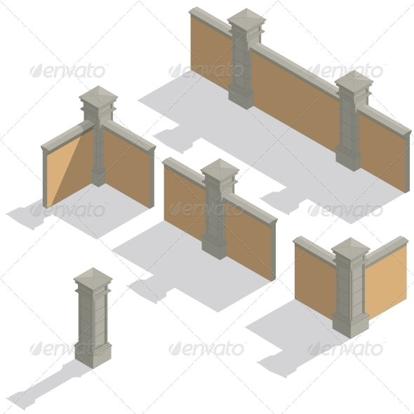 Isometric Fence Set Construction Kit - Buildings Objects