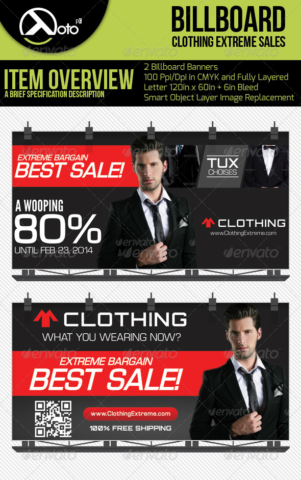 Extreme Sales Clothing Billboards - Signage Print Templates