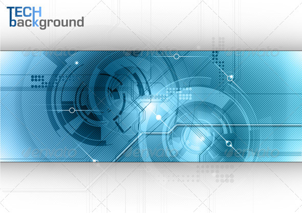 Blue Tech Background - Technology Conceptual