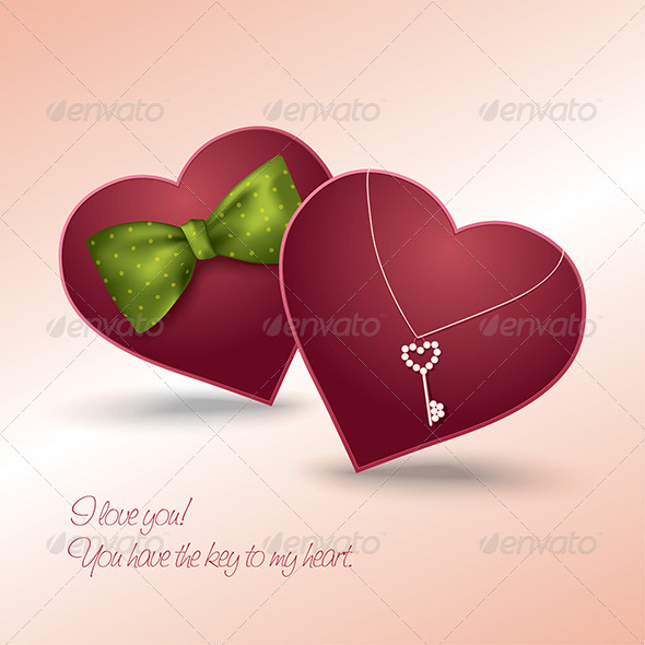 Valentine's Day Card with Two Hearts in Love - Valentines Seasons/Holidays
