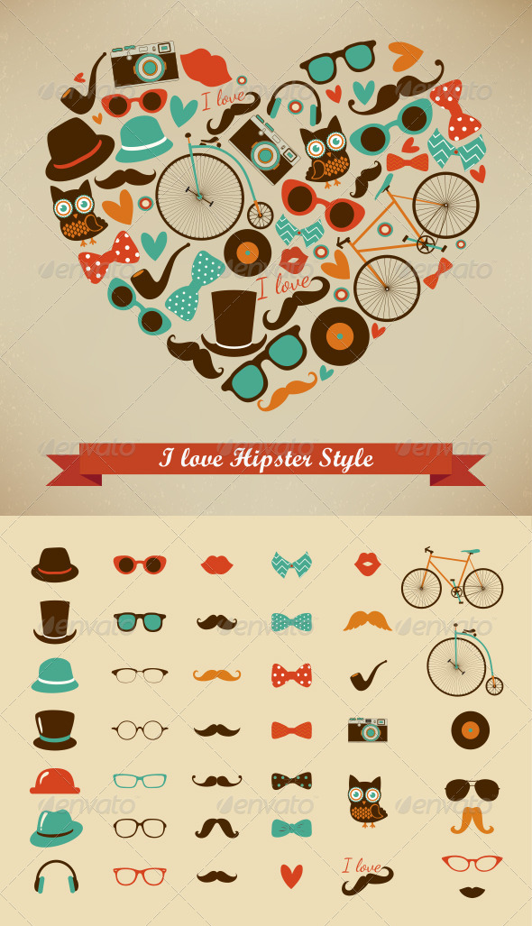 I Love Hipster Style Illustration + Retro Icons - Illustrations Graphics