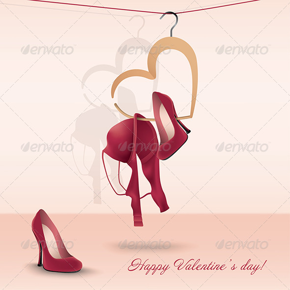 Valentine's Day Card with Bra and Shoes - Valentines Seasons/Holidays