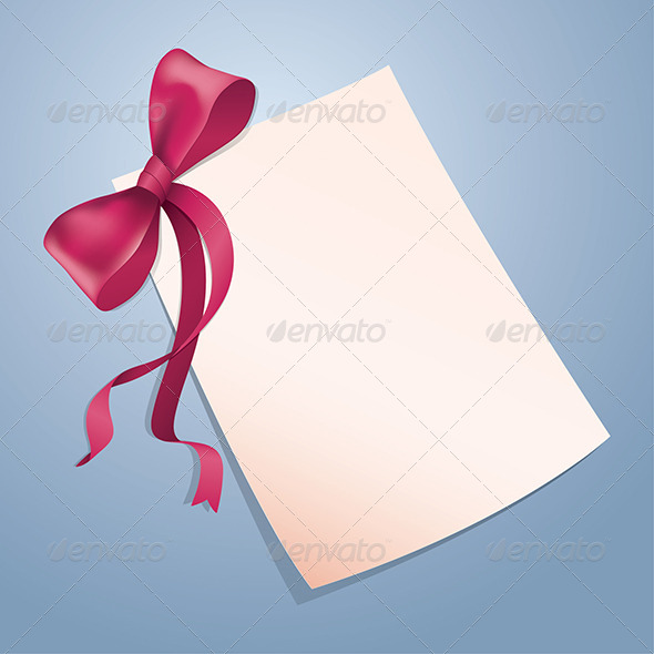 Card with Red Ribbon - Seasons/Holidays Conceptual