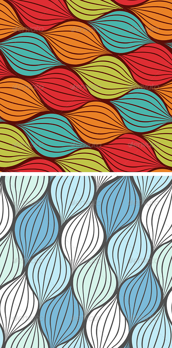 Seamless Abstract Hand Drawn Pattern with Waves - Patterns Decorative