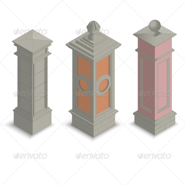 Isometric Gate Pillars - Buildings Objects