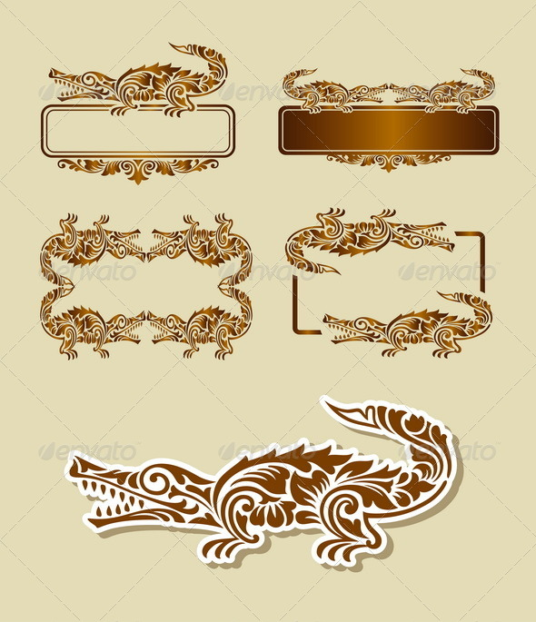 Crocodile Pattern Decoration - Flourishes / Swirls Decorative