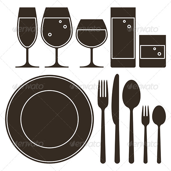 Dining Set with Drinking Glasses - Food Objects