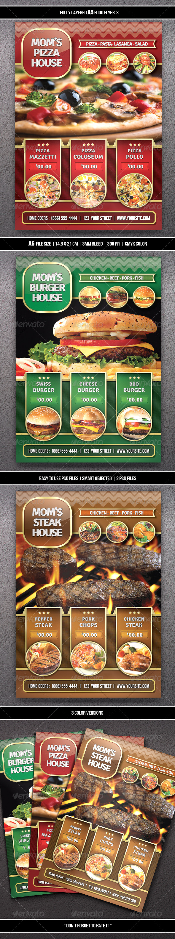 Food Flyer 3 (A5) - Restaurant Flyers
