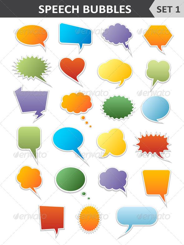 Colorful Speech Bubbles Set 1 - Vectors