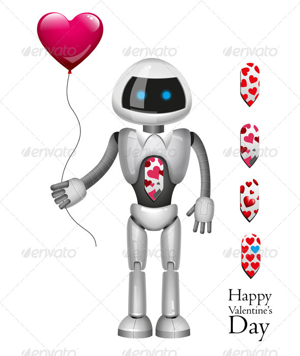 Robot With Balloon Heart - Valentines Seasons/Holidays