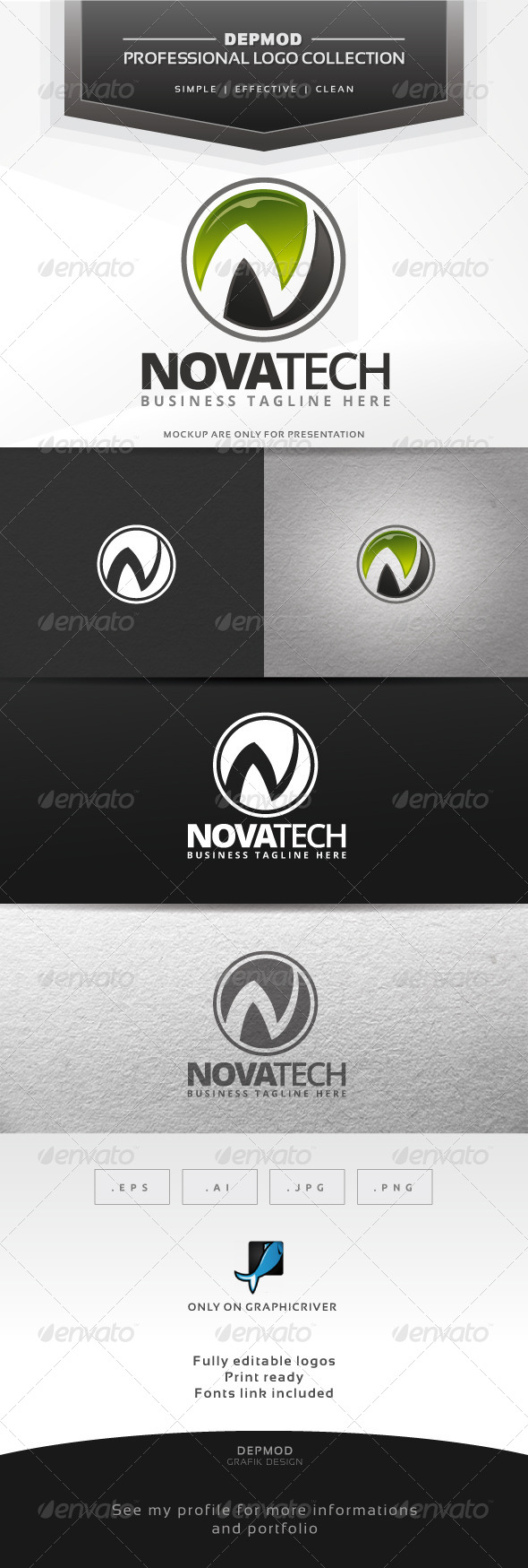 Nova Tech Logo - Letters Logo Templates