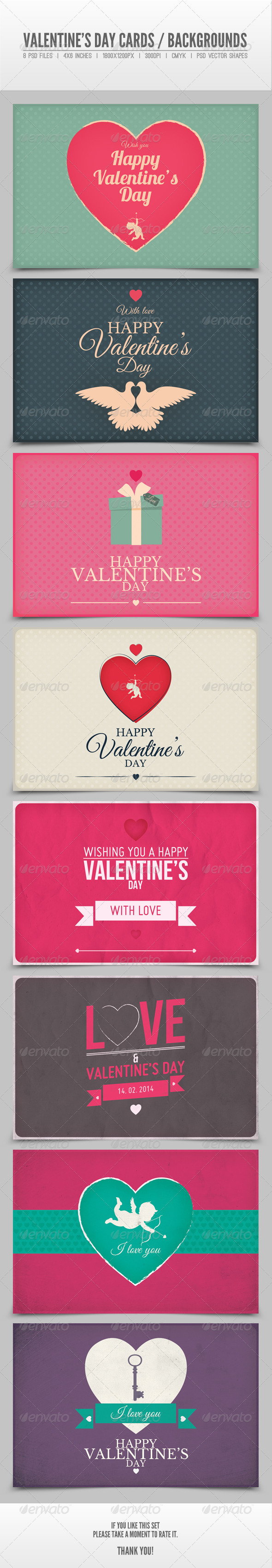 Valentine's Day Cards / Backgrounds Vol.2 - Backgrounds Graphics
