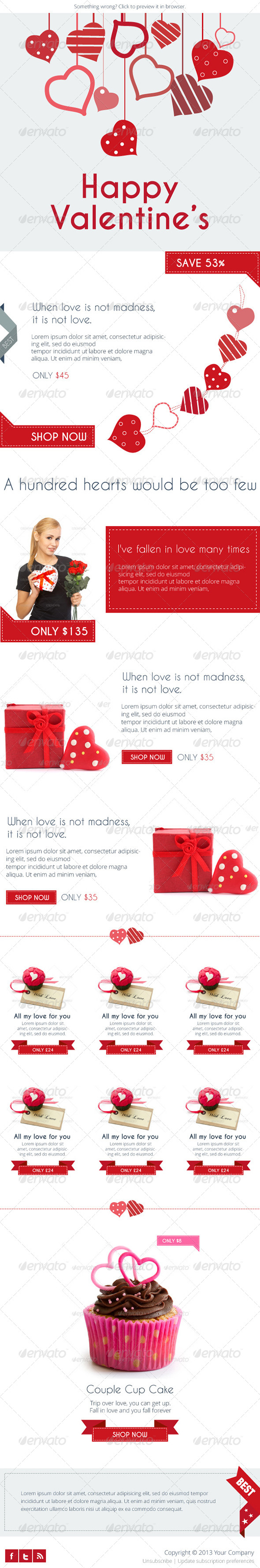 Flat Valentine's E-newsletter Template - E-newsletters Web Elements