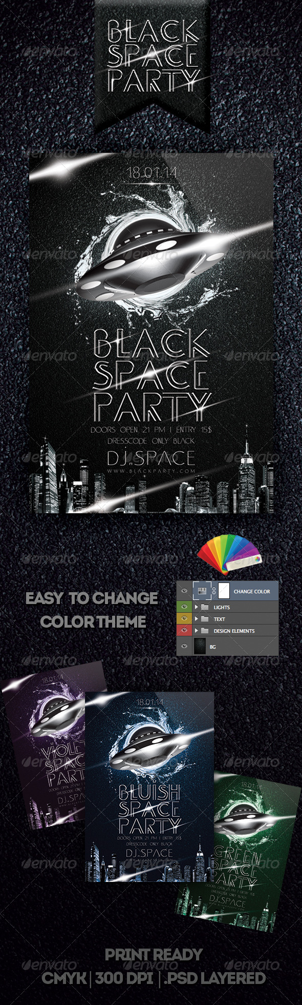 Black Space Party Flyer - Clubs & Parties Events